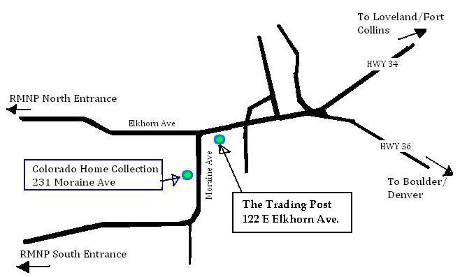 Map to Colorado Home Collection and The Trading Post  Estes Park, CO